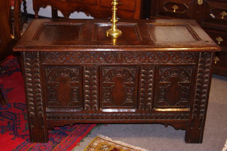 Charles I carved oak coffer Circa 1630. robinwheatley-antiques.co.uk