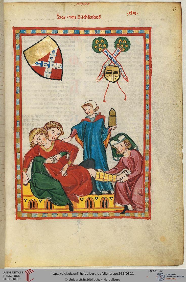 """Den Minnesänger, dessen Vorname unbekannt ist, glaubt man in Ulrich von Lichtenstein (Miniatur 77) in seinem """"Frauendienst"""" als Gefolgsmann Herzog Friedrichs II. von Österreich erwähnt."""