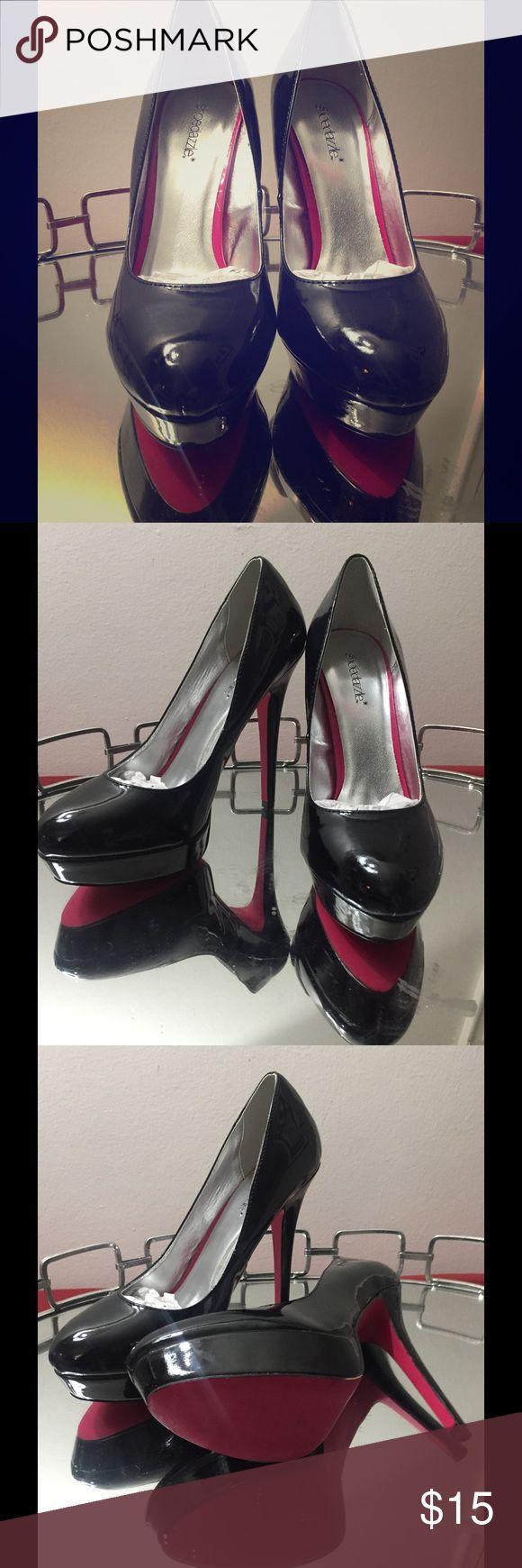 New Never Worn Shoe Dazzle Black Patent Leather New Never Worn Black Patent Leather Pump with cute pink bottoms. Shoe Dazzle Shoes Heels