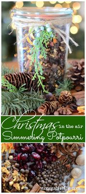 Recipe for SIMMERING CHRISTMAS POTPOURRI. Make a batch and keep it in a mason jar.  Add a few tablespoons to simmering water and the natural aroma of real spices will give your home the unmistakeable smell of the Christmas season. This also would be a great gift to make and give to others!