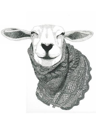 Knitting Sheep Art Print  www.beritlysdalbaerentsen.com