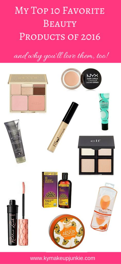top beauty products 2016 These beauty blogger-approved products are my top 10 favorite beauty products from 2016! Featuring both high-end and drugstore products, this post describes why I love them and why you will, too!