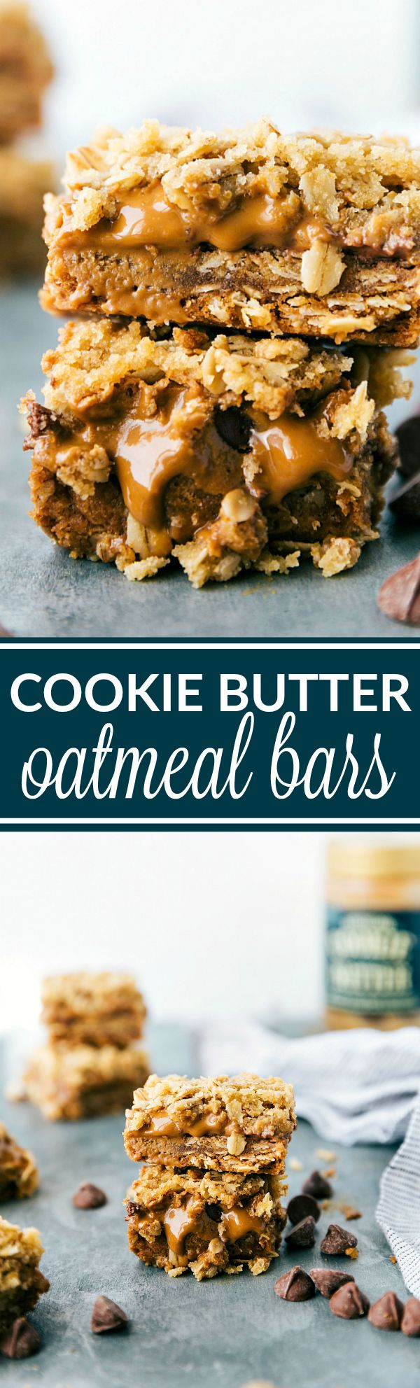 Simple-to-make oatmeal bars with a gooey cookie butter (biscoff) and milk chocolate chip center. These cookie butter oatmeal bars are sure to be a huge hit! These bars are like the famous Carmelitas, but with COOKIE BUTTER instead! via chelseasmessyapron.com
