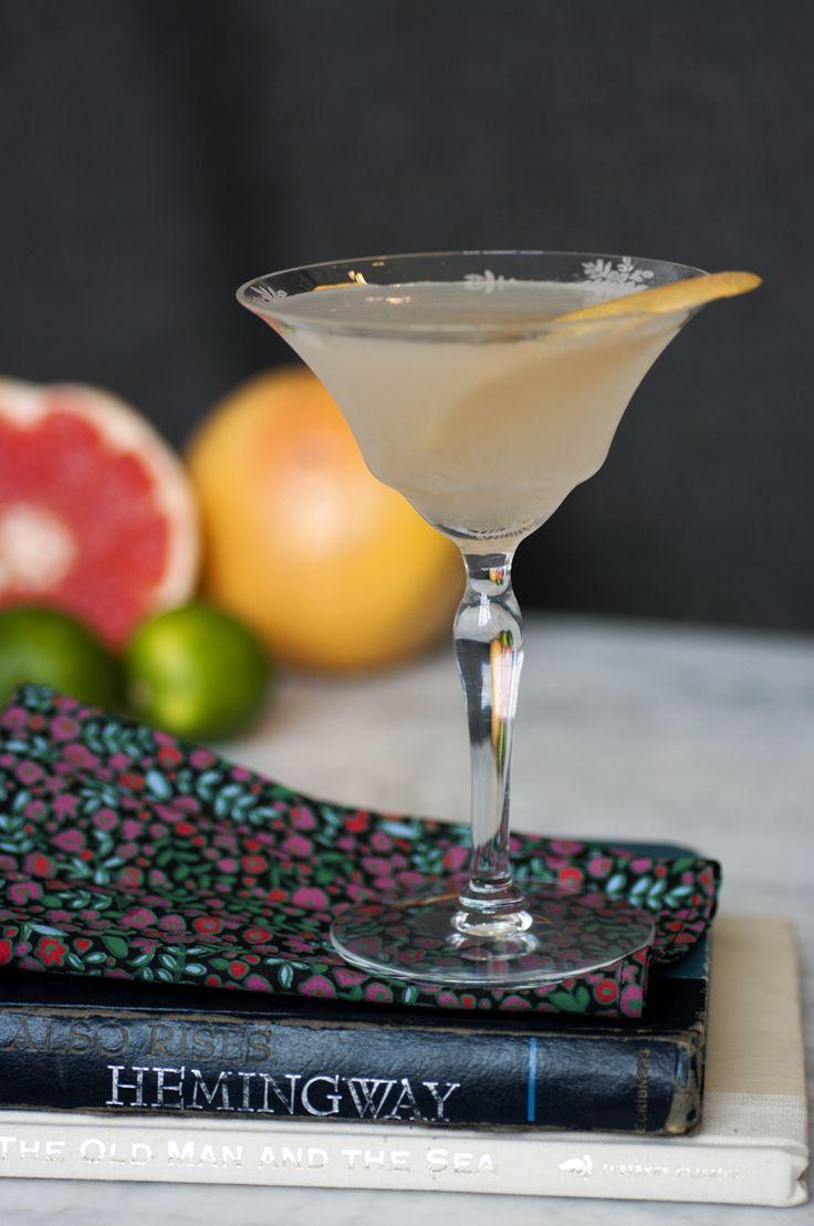 Hemingway Daiquiri: white rum (Havana Club), lime juice, grapefruit juice, maraschino liqueur, grapefruit twist | Post Prohibition