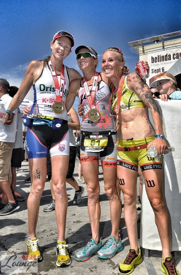 Leanda Cave 1st, Kelly Williamson 2nd & Heather Jackson 3rd at 2012 70.3 World Champs