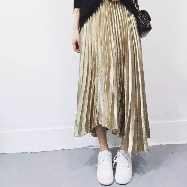 Grace Metallic Midi Pleated Skirt