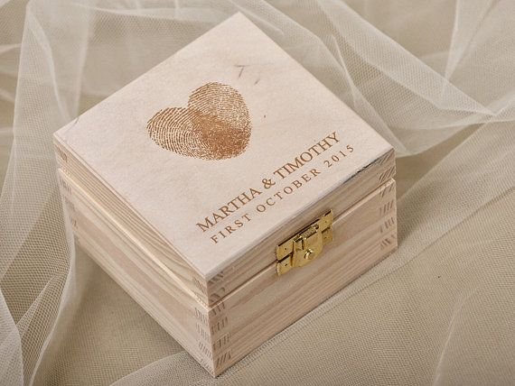 Fingerprint Wood Wedding Ring Bearer Box, Rustic Wooden Ring Box ,  Engraved  Bride and groom names on Etsy, $30.00