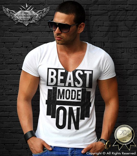 BEAST MODE ON White mens t-shirt tank top slogan long sleeve gym clothes…