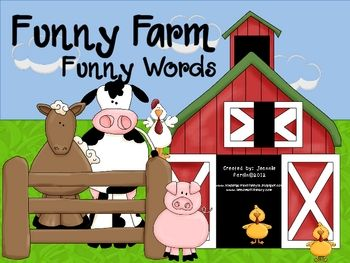 "Kids read short ""a"" cvc and ccvc words (words with initial consonant blends) and sort into either the ""real"" word barn or ""nonsense"" word barn. Too cute!"