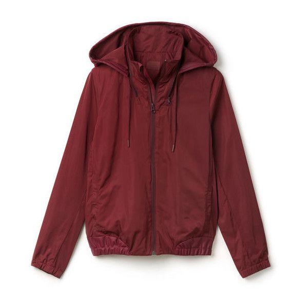 Jackets & Coats | Women Fashion | LACOSTE (930 BRL) ❤ liked on Polyvore featuring outerwear, jackets, tops, hoodies, wind jacket, lacoste windbreaker, wind breaker jacket, red jacket and lacoste jacket