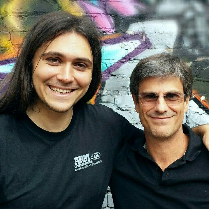 Montreal, Canada. Maxime Ginolin (French multifaceted artist, activist and also a great orator) & Massimo Leopardi (Veggie Channel )