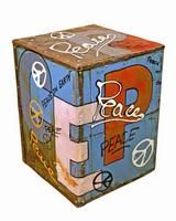 GROOVYSTUFF B-146 - The hand-painted Peace & Love Graffiti side table is part of the Chris Bruning Signature Series. Featured in the July 29, 2013, Issue of Furniture Today.