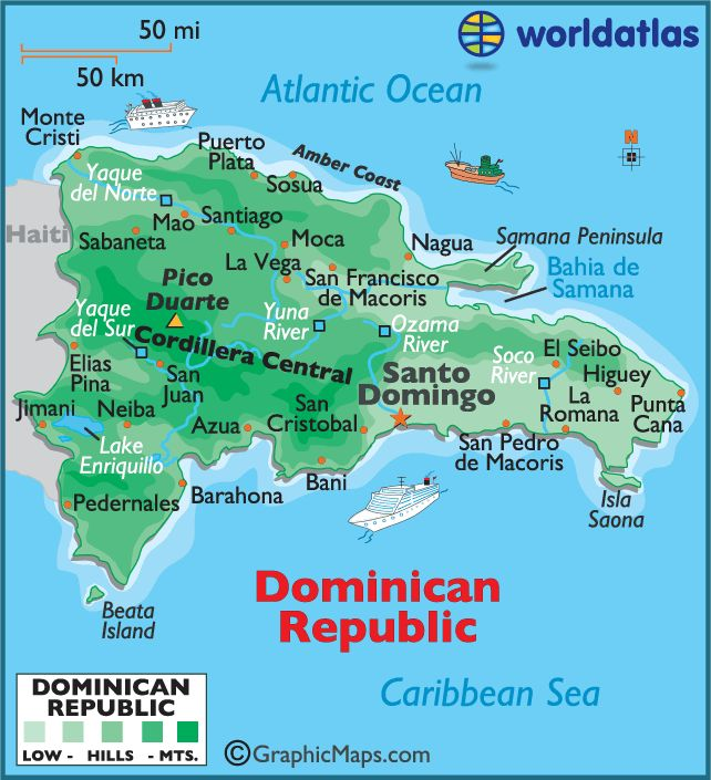 Map of the Dominican Republic - setting for Caribbean Paradise and Pearl of the Caribbean - first two books in Island Legacy Series.