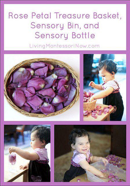 Rose Petal Treasure Basket, Sensory Bin, and Sensory Bottle
