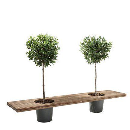 """Larges pots intégrés dans un long banc en bois """"Roméo & Juliet"""" de Extremis."""