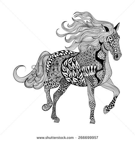 Zentangle stylized Black Horse. Hand Drawn doodle vector illustration. Sketch for tattoo or makhenda. Animal collection.