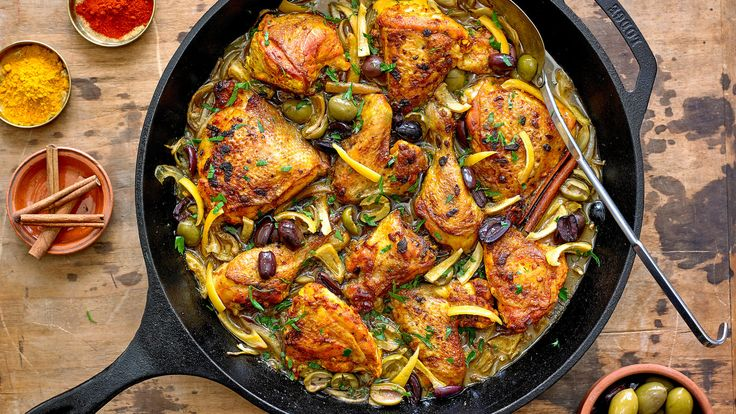 This rich and fragrant chicken stew is laden with complex flavors and spices reminiscent of the sort you might encounter in a mountainside cafe in Morocco Save yourself the cost of a plane ticket, however, and make this at home First, rub the chicken with a redolent combination of garlic, saffron, ground ginger, paprika, cumin, turmeric and black pepper, then pop it into the refrigerator for 3 to 4 hours to marinate