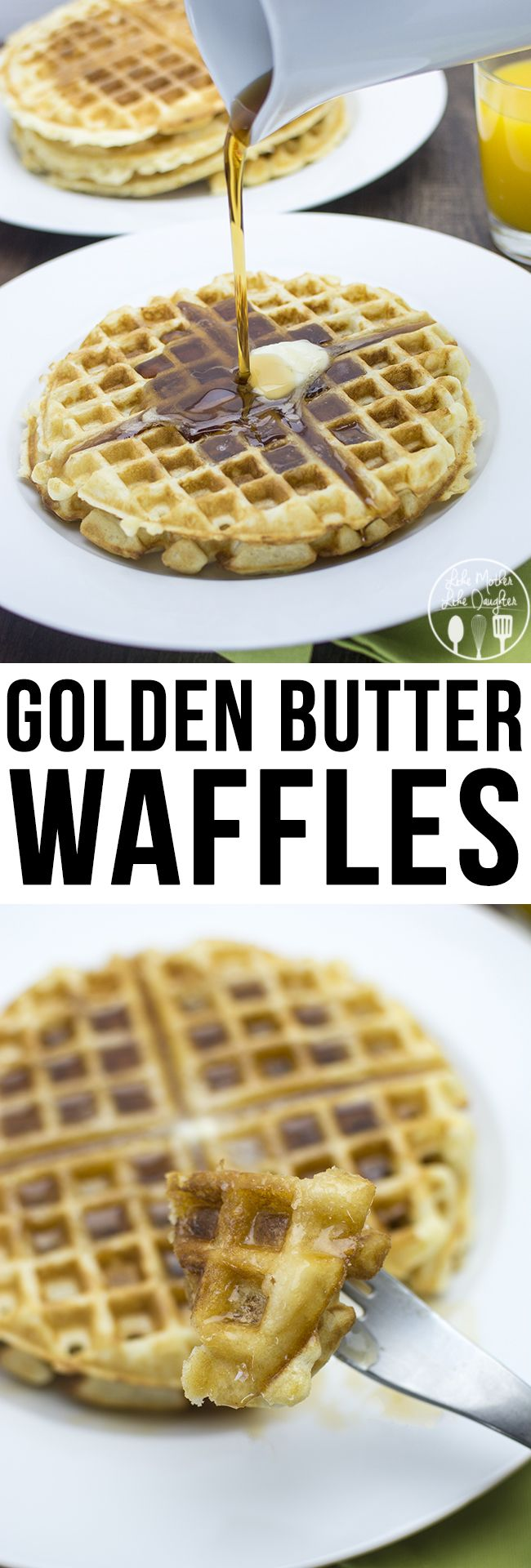 These are really good waffles, (not my recipe) but I cannot quite figure out why this is my only pin that is re-pinned repeatedly! LOL  KEEPER -- Golden Butter Waffles - These are the perfect waffles, crispy on the edges soft in the middle. So great for breakfast, brunch or brinner.