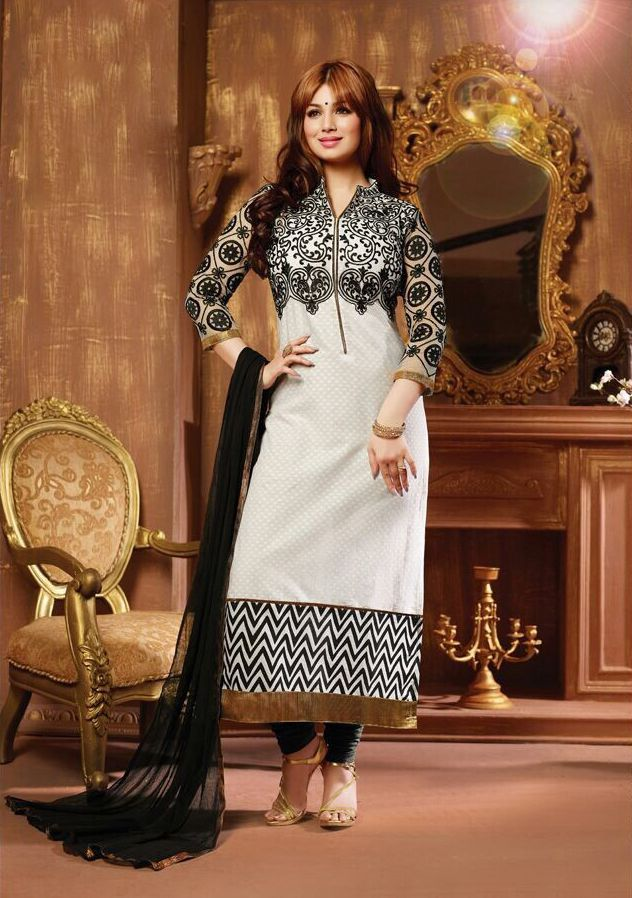 Product Description  Item Code:86 | Celebraty :Ayesha Takia | Color: White & Black |Duppata :Siffon |Material: Cotton | Work : Embroidaery | Catalog :2806