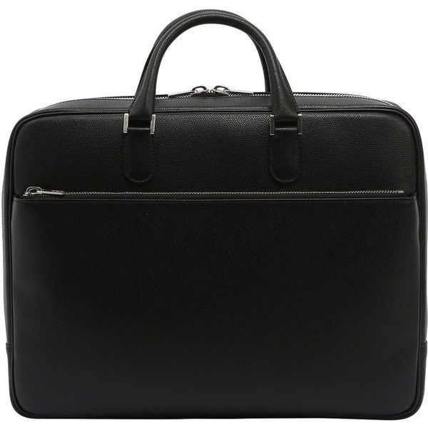 Valextra Men Accademia Leather Briefcase (23 795 SEK) ❤ liked on Polyvore featuring men's fashion, men's bags, men's briefcases, black, mens leather briefcase and mens briefcase