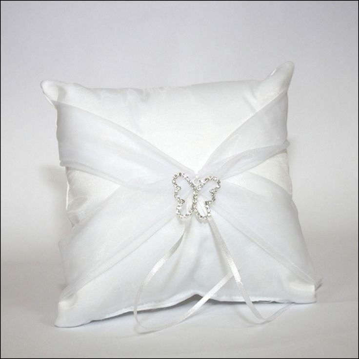 Butterfly Wedding Ring Pillow in White £12.99 available to buy online from Wedding Paraphernalia
