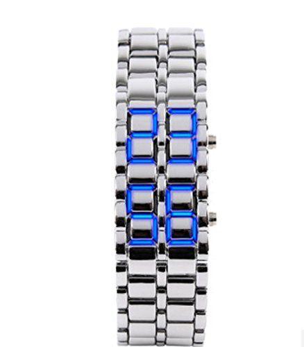 Domire Metalband Lava Style Digital LED Uhr Girl silver blue - http://uhr.haus/domire/girl-silver-blue-domire-metalband-lava-style-led
