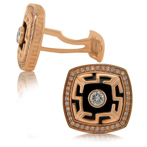 Rose Gold Diamond and Onyx Cufflinks | SimpsonJewelers.com