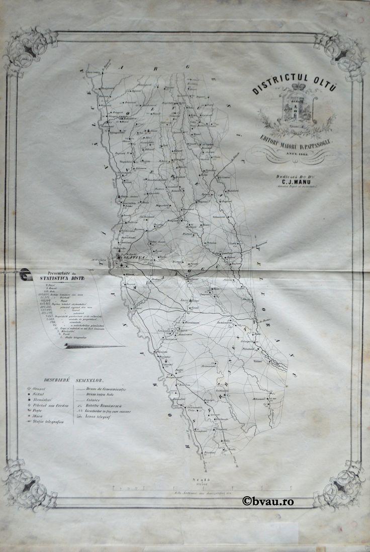 """Districtul Oltu, întocmit şi editat de Maior D. Pappasoglu, 1863. Imagine din colecțiile Bibliotecii """"V.A. Urechia"""" Galați."""