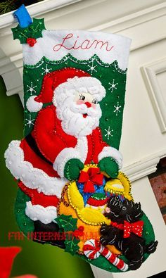Bucilla Santa and Scottie Dog 18 Felt Christmas