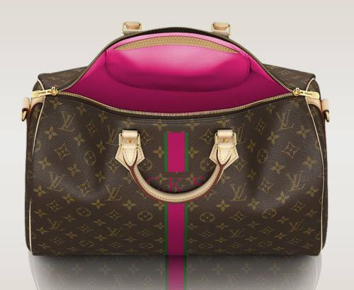Add Your Monogram To A Louis Vuitton Bag! Did you know that you can add your very own initials (complete with customized colors!) a Louis Vuitton bag, luggage or wallet? Play around with all of the colors, stripes, and monogram options on various Louis Vuitton classic pieces. The Louis Vuitton bag that you see here is the Speedy Bandouliere 40 Mon Monogram ($1,610). We are definitely adding this to our wish list!