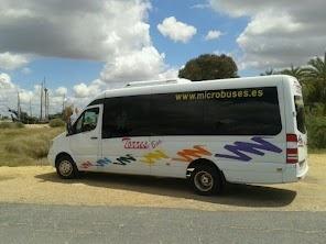 Minibus Mercedes visitando las Carabelas de Colon en la Rábida (Huelva)