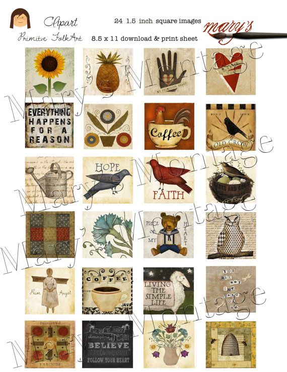 ClipArt for Glass Pendants Folk Art & Prim images by MarysMontage, $2.00