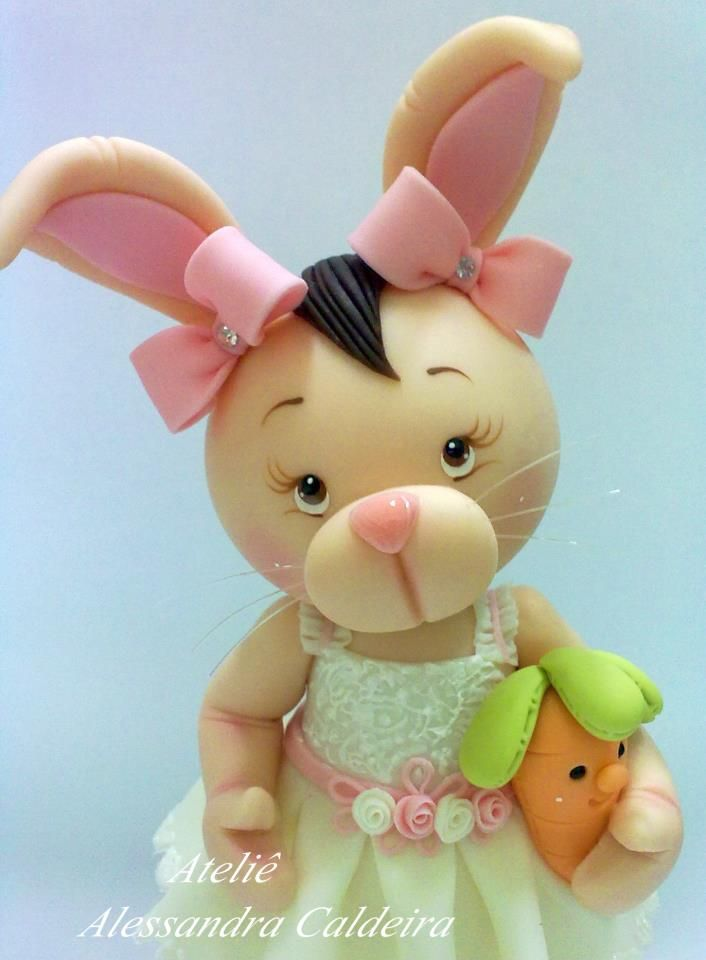 cute rabbit porcelana fria polymer clay