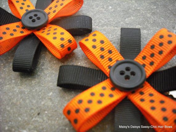 Halloween Hair Bows by SassyChicHairBows on Etsy, $9.95
