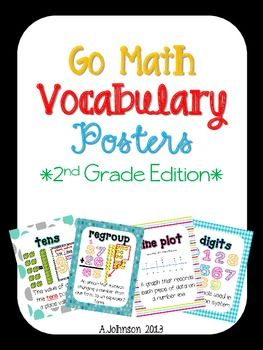 This set includes eye-catching vocabulary posters for all of the vocabulary words that go along with the second grade Go Math series. These posters are great to hang in your classroom as a resource for your students to use daily!**2012 Edition of Go Math was used to create this product**