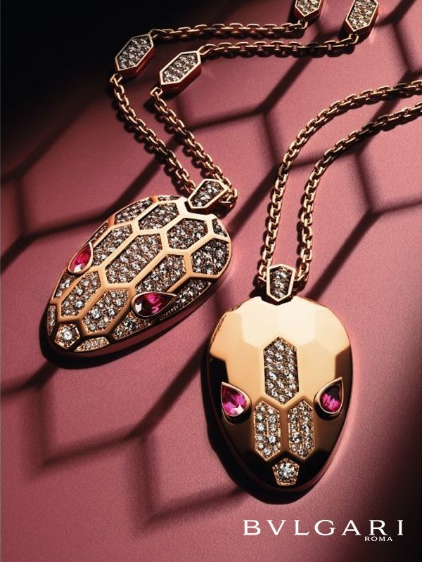 serpenti seduttori rose gold necklaces with hypnotic rubellite eyes and pave diamonds bulgari jewelryrose gold