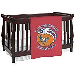 Dawson Basket Ball Personalized Red Baby Blanket (Double Sided)