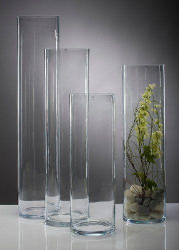 Glasvase Vase Glas Blumenvase Bodenvase Zylinder groß 75 cm - WOONIO