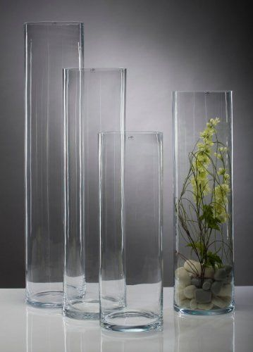 Glasvase Vase Glas Blumenvase Bodenvase Zylinder groß 75 cm