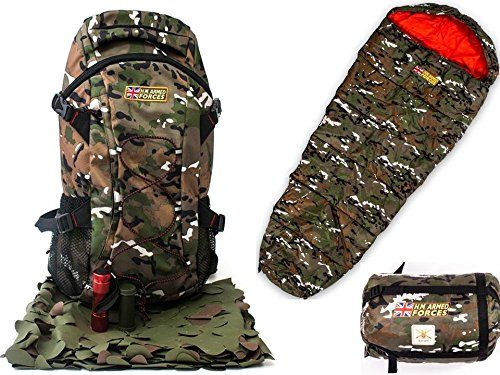 H.M. FORCES CHILDRENS COMBAT BACKPACK TORCH CAMO NETTING CAMO FACE PAINT andamp