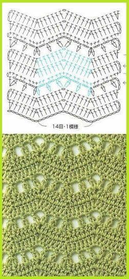 Ripple stitch diagram   . . . .   ღTrish W ~ http://www.pinterest.com/trishw/  . . . .   #crochet