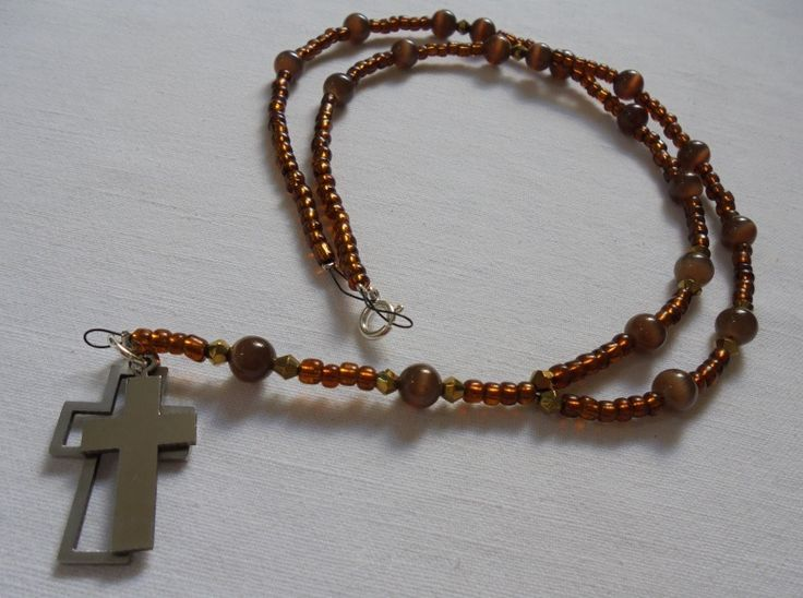"Unique Handmade Rosary of Glass Brown beads, Bronze Swarovski beads, ""Cat's Eye"" Brown beads, Silver 925 clasps & Stainless Steel Cross. Length: 40,5cm"