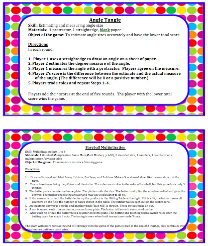 4th Grade Everyday Math Games--Labels and Instructions