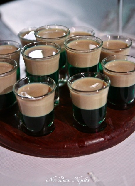South African shot. Peppermint liqueur and topped with Amarula ...can use Baileys as well! Yums!