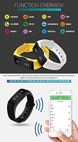 Activity Bracelets Fitness - Fitness Tracker Smart Bracelet Bluetooth 4.0 Sleep tracker Step Distance Calorie Counter Pedometer Sport Activity Tracker Smartband for iPhone Android Smartphones (Black) Support Funtions: Pedometer, Sleep Monitor, Message Reminder, Call Reminder, Push Message, Calories Burned, Sedentary Reminder, Timer, Alarm Languages: - The benefits of wearing these smart bracelets are not only in your comfort, but also in that they are able to control all your physical ...