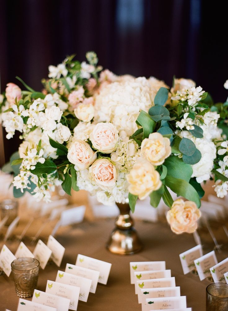 {{Escort card table flower arrangement for spring wedding with flowering branches, garden roses, tulips in gold vase.}} Photography by Britta Marie Photography http://brittamariephotography.com/    Flowers by Pollen, pollenfloraldesign.com