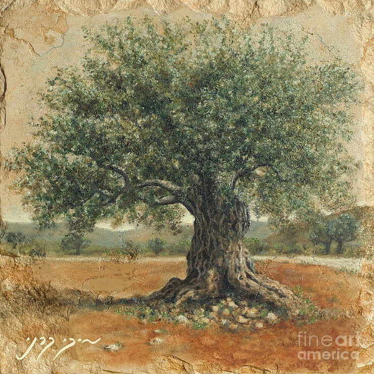 "Miki Karni. ""Ancient Olive Tree"". Oil On Stone."