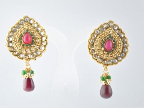 Name: Polki Earring   Product Code : PE-67  Price : 900  Buy Now : http://bit.ly/1unYzXR  You Can also call at +91 9748346461 to order this exclusive polki earring from Saakshijewellery.