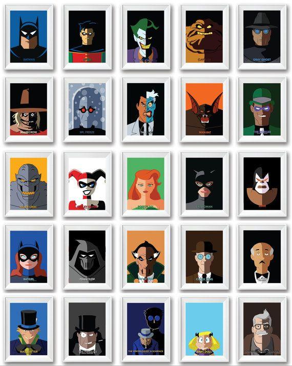 Batman el serie animada Batman Poster impresión conjunto de superhéroe 6 niños pared decoración arte vivero cómics superhéroes Super héroe Bruce Wayne