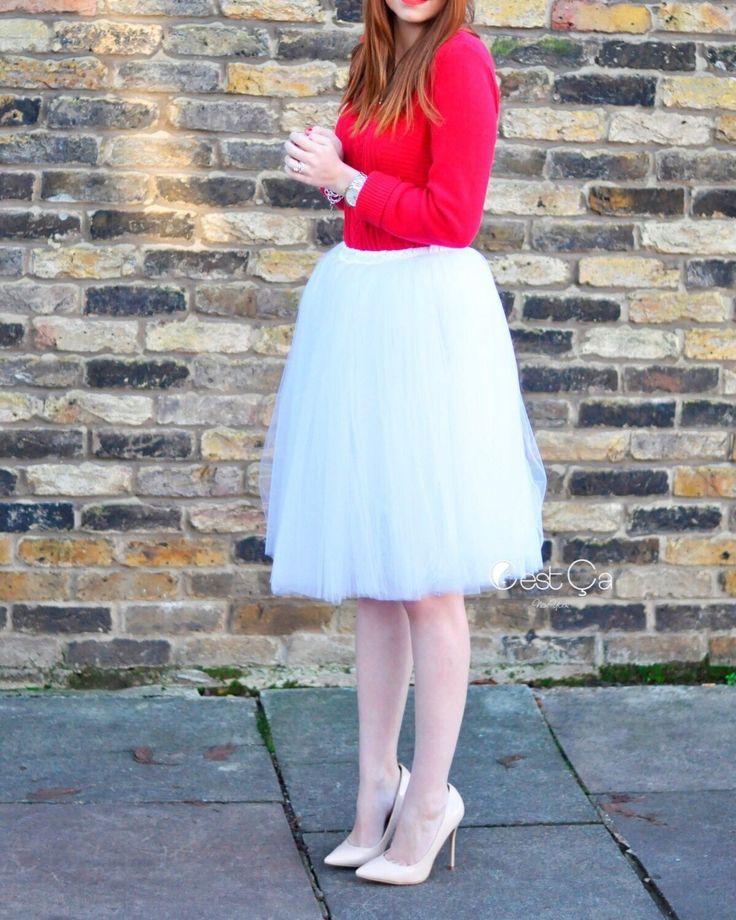 Clarisa Snow White Tulle Skirt - Regular Midi (2)